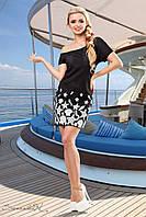 Женское летнее  платье с морским принтом чёрное
