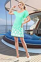Женское летнее короткое платье с морским принтом бирюза