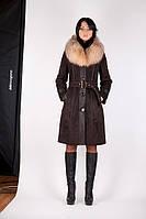 Женская дубленка модная средней длины Д-43 с мехом блюфрост., фото 1