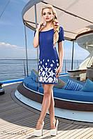 Женское летнее короткое платье с морским принтом синее