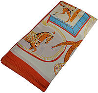 Женский платок 25176 картина лошади оранжевый