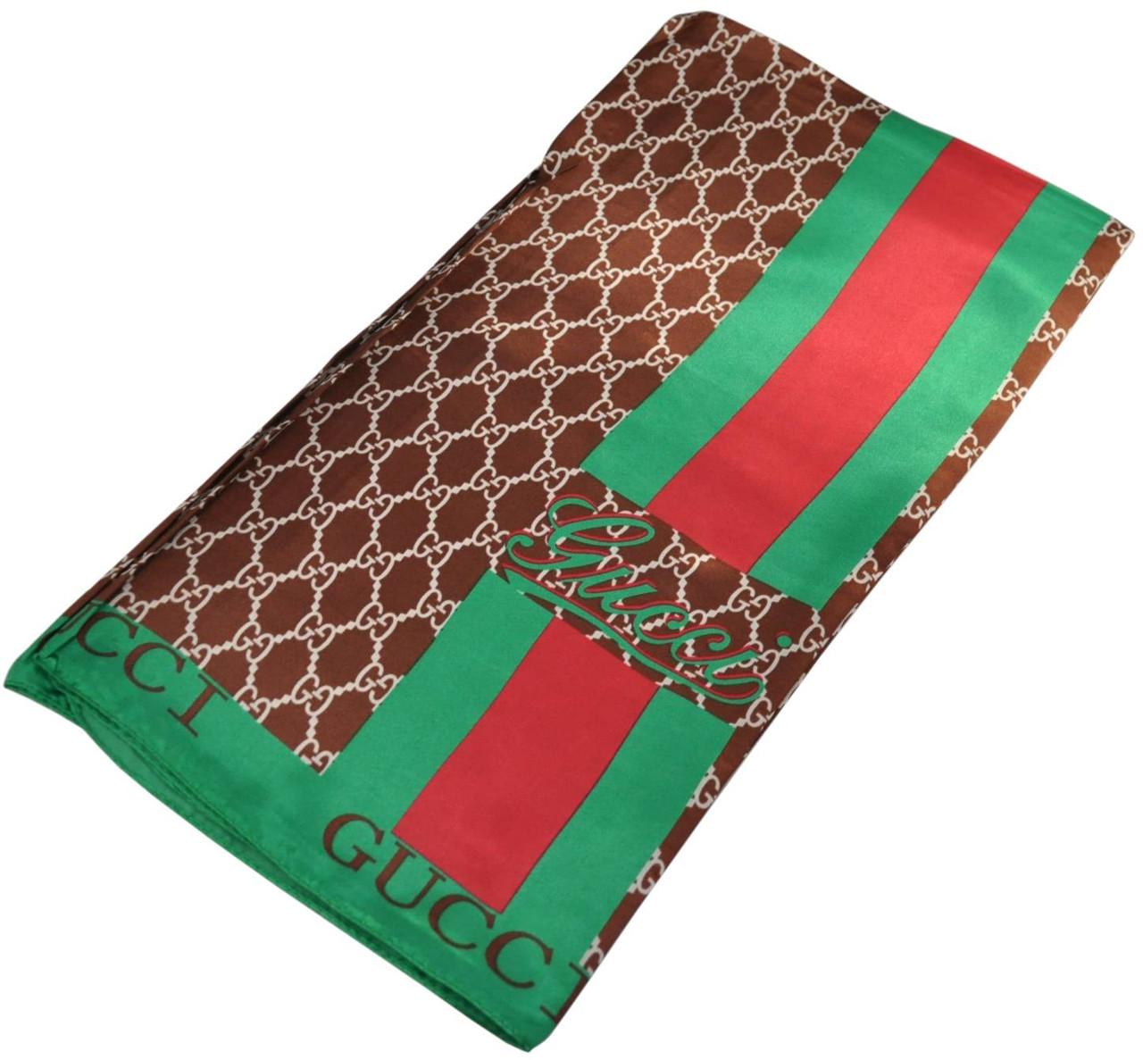 Женский платок Gucci 25256 коричневый (реплика)