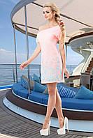 Женское летнее короткое платье с морским принтом розовое с бирюзой