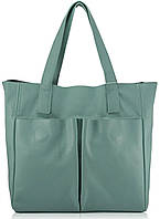 Женская кожаная сумка с карманами голубая