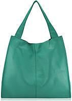Женская кожаная сумка Mesho бирюзовая