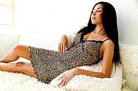 """Ночная женская сорочка на бретелях, материал вискоза, разные размеры, цвет """"Леопард"""". Розница и опт в Украине."""