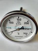 """Термометр 0-300°С, Ø63мм, з різьбою 1/2"""" біметалічний, осьовий, PAKKENS, фото 1"""