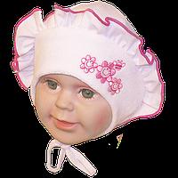 Детская велюровая шапочка с подкладкой (интерлок) с завязками, ТМ Мамина мода, р. 36, 38, 40, 42, 44, фото 1