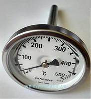 """Термометр 0-500°С, Ø63мм, з різьбою 1/2"""" біметалічний, осьовий, PAKKENS, фото 1"""