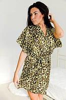 Халатик атлас, леопадовый атласный халатик, шикарный женский халатик атлас. Размеры 42 - 50. Розница и опт.