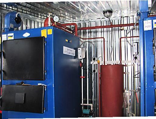 Транспортабельная котельная установка на твердом топливе 400 кВт с двумя котлами Идмар KW-GSN-200