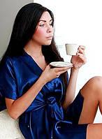 Халат кимоно шелк, цвет синий насыщенный. Атласный халатик. Размеры 40-50. Розница и опт., фото 1