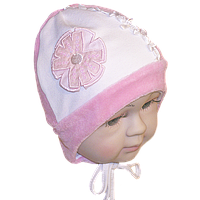 Детская велюровая шапочка с подкладкой (интерлок) и завязками, ТМ Мамина мода, р. 36, 38, 40, 42, 44, фото 1