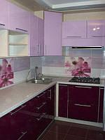 Кухня фиолетовая, крашеная, глянец, угловая, фото 1