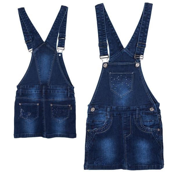 Сарафан джинсовый для девочки, стильный, темносиний, YUKI (Юки), 104, 116, 122, 128, 134, 140