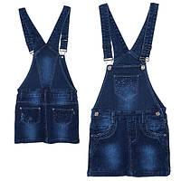 Сарафан джинсовый для девочки, стильный, темносиний, YUKI (Юки), 104, 116, 122, 128, 134, 140, 146