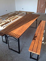 Стол с лавками для дачи, мебель дачная, садовая.
