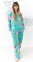 Женская махровая теплая пижама ― красивая и уютная женская домашняя одежда для дома. Опт, розница. Украина., фото 1