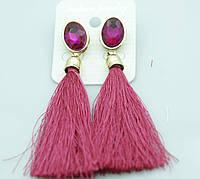 Розовые серьги со свисающими кистями. Украшения оптом недорого. 2114
