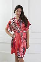 Эффектный атласный халатик с оригинальным принтом, красивая атласная одежда для дома, женский халатик атлас