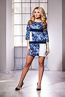 Синее короткое платье с орнаментом, рукав 3/4, больших размеров. Арт-5718/57