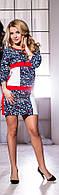 Стильное короткое платье с орнаментом, рукав 3/4, больших размеров. Арт-5718/57