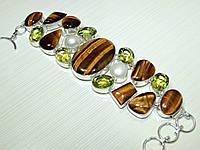 Шикарный Крупный Браслет из натуральных камней - Тигровый Глаз, Медовый Кварц, Лимонный Кварц