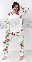 Женская махровая белая теплая пижама, фото 1