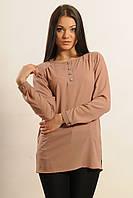 Классическая шифоновая блуза свободного силуэта прямого кроя с длинным рукавом 42-56 размеры, фото 1