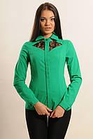 Элегантная блуза приталенного силуэта с отложным воротником и длинным рукавом вставки из гипюра 42-52 размеры