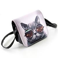 Женская сумка через плечо с принтом (Кот в очках)