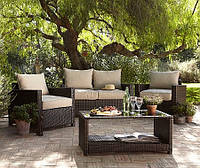 Набор садовой мебели George Home Jakarta Deluxe Conversation Sofa Set in Dark Linen - 4 Piece