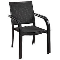 Стулья садовые Miami Stacking Patio Chairs in Charcoat - Pack of 2 Rollover image to zo.