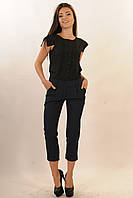 Стильные укороченные брюки длиной 7/8 из костюмной ткани 42-52 размер, фото 1