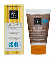 Apivita Sun Care СолнцеЗащитный крем легкой текстуры для лица SPF30, для жирной и комбинированной кожи, с кермеком и прополисом 50мл