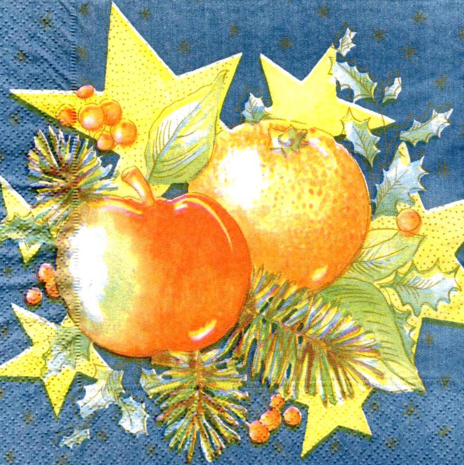 Декупажные салфетки Апельсин и яблоко 662