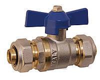Шаровый кран под металлопластиковые трубы Forte бабочка (фитинг-фитинг) 16x16 вода PN-20