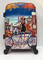 Чемодан 1590 дорожный на колесиках  маленького размера с рисунком