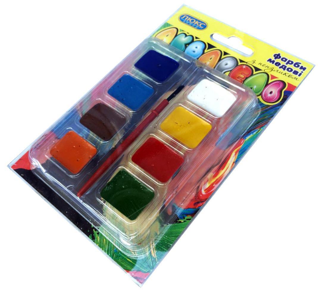 Акварельные краски ЛЮКС КОЛОР (8 цветов) + кисточка, для детского творчества