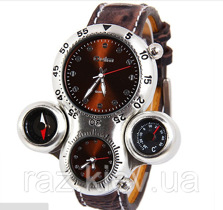 Мужские наручные часы OULM Нескольких часовых поясов часы, термометр, компас,  кожаный браслет, 191f7dc876b
