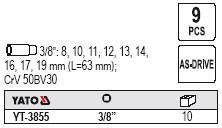 """Набор высоких торцевых головок YATO YT-3855 3/8"""" 9 пр., фото 2"""