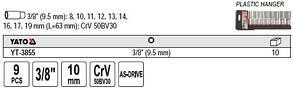 """Набор высоких торцевых головок YATO YT-3855 3/8"""" 9 пр., фото 3"""