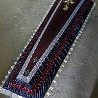Гроб - драпировка атлас (бордовы/синий)