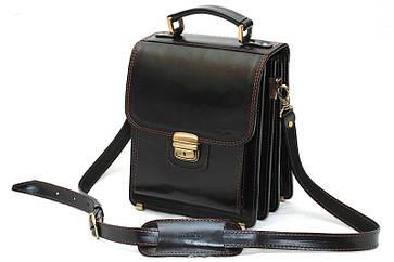 Кожаная сумка планшет СПБ-1 черный отстроченный