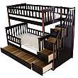 """Двухярусная кровать семейного типа """"Альбинос Макси """"с ящиками ступеньками и бортиками, фото 5"""
