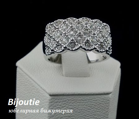 Кольцо ДОРИС ювелирная бижутерия родий декор кристаллы Swarovski