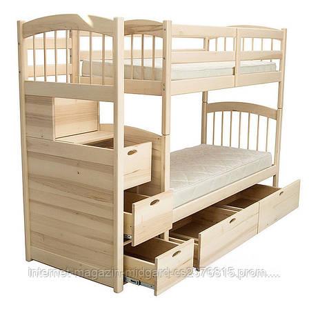 """Двухярусная кровать семейного типа """"Кирилл"""" с ящиками ступеньками и бортиками, фото 2"""
