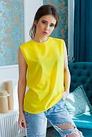 Женская креп-шифоновая блузка с поясом без рукавов