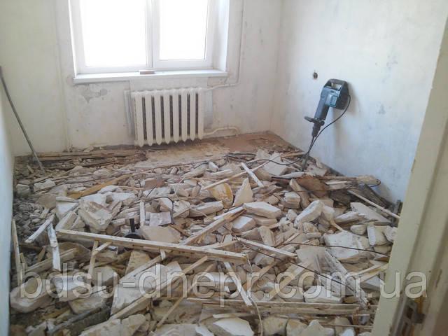 Фото работы по демонтажу гипсолитового пола в квартире