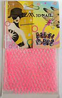 Сетка для декора ногтей розовая, YRE